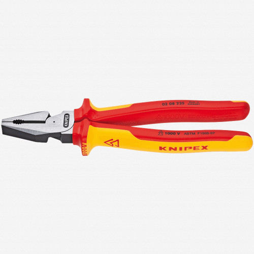"""Knipex 02-08-225 9"""" High Leverage Combination Pliers - Insulated - KC Tool"""