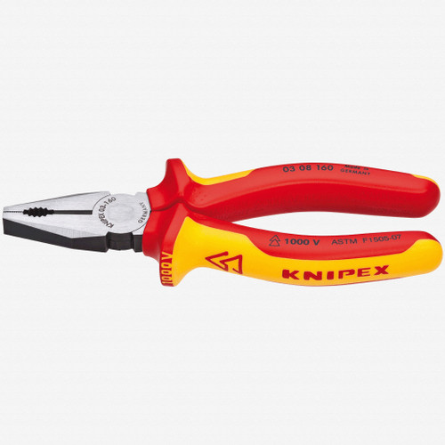 """Knipex 03-08-160 6.3"""" Combination Pliers - Insulated - KC Tool"""