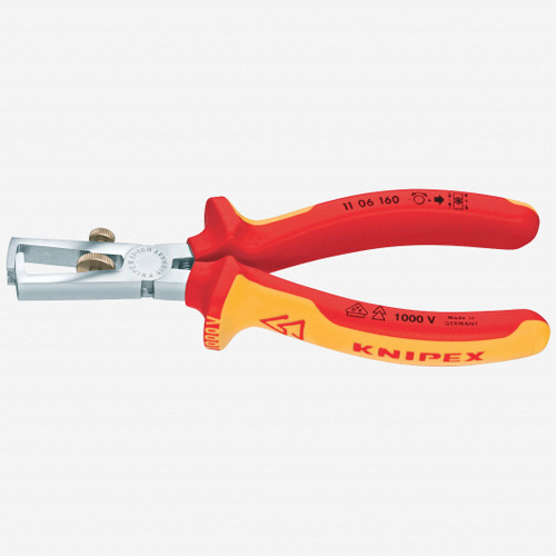 """Knipex 11-06-160 6.3"""" Wire Insulation Strippers - Insulated Chrome MultiGrip - KC Tool"""