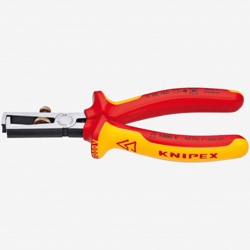 """Knipex 11-08-160 6.3"""" Wire Insulation Strippers - Insulated - KC Tool"""