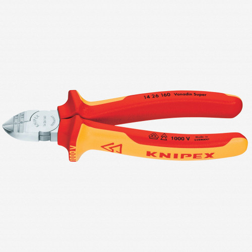 """Knipex 14-26-160 6.3"""" Diagonal Wire Insulation Strippers - Insulated - KC Tool"""