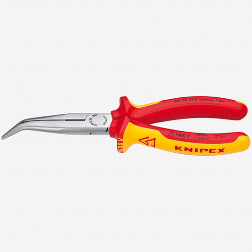 """Knipex 26-28-200 8"""" Chain Nose Side Cutting Pliers (Stork Beak Pliers) - Insulated - KC Tool"""