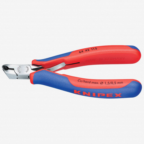Knipex 64-42-115 Electronics Oblique 27 Degree End Cutting Nippers w/ Small Bevel - MultiGrip - KC Tool