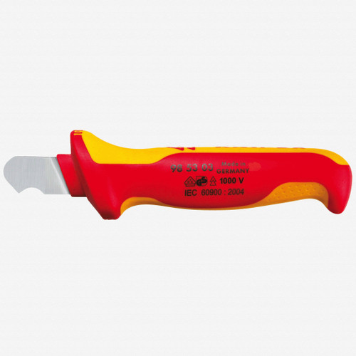 Knipex 98-53-03 Insulated Dismantling Knife - Solid, Fixed Hook Blade - KC Tool