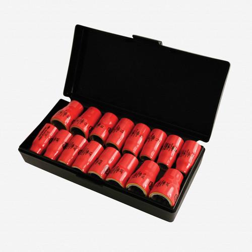 "Wiha 31491 16 Piece Insulated 3/8"" Drive Inch/Metric Socket Box Set - KC Tool"