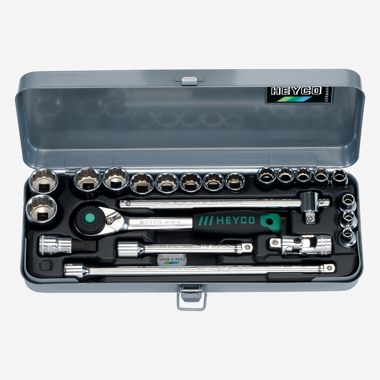 "Heyco 0411010 SAE 12 Point 3/8"" Drive Socket Set with Ratchet, 23 Pieces - KC Tool"