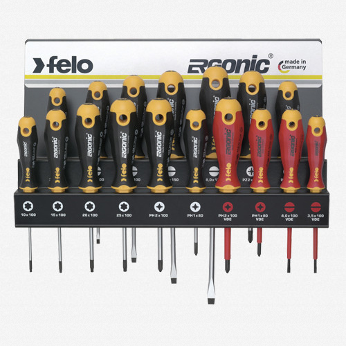 Felo 61391 Ergonic 17 piece Screwdriver Set w/Steel Rack - KC Tool