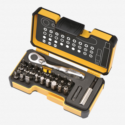 Felo 61545 Felo XS 33 piece Box SL,Hex,PH,PZ,TX Bits Mini Ratchet, Bitholder - KC Tool