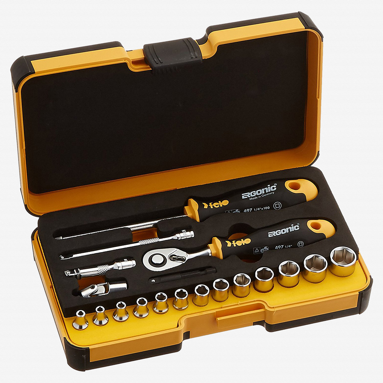 Felo 62055 R-GO 19 19pc Box Sockets, Ergonic Ratchet, INCH - KC Tool