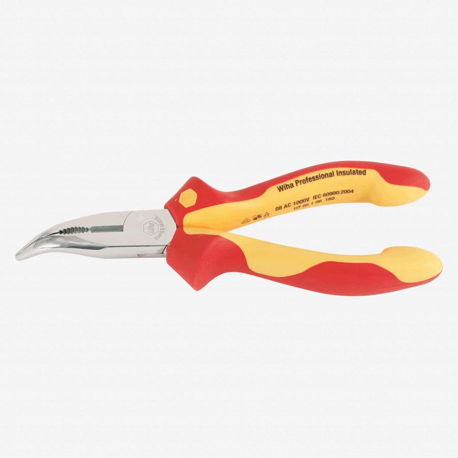 """Wiha 32807 6.3"""" Bent Nose Pliers - Insulated - KC Tool"""