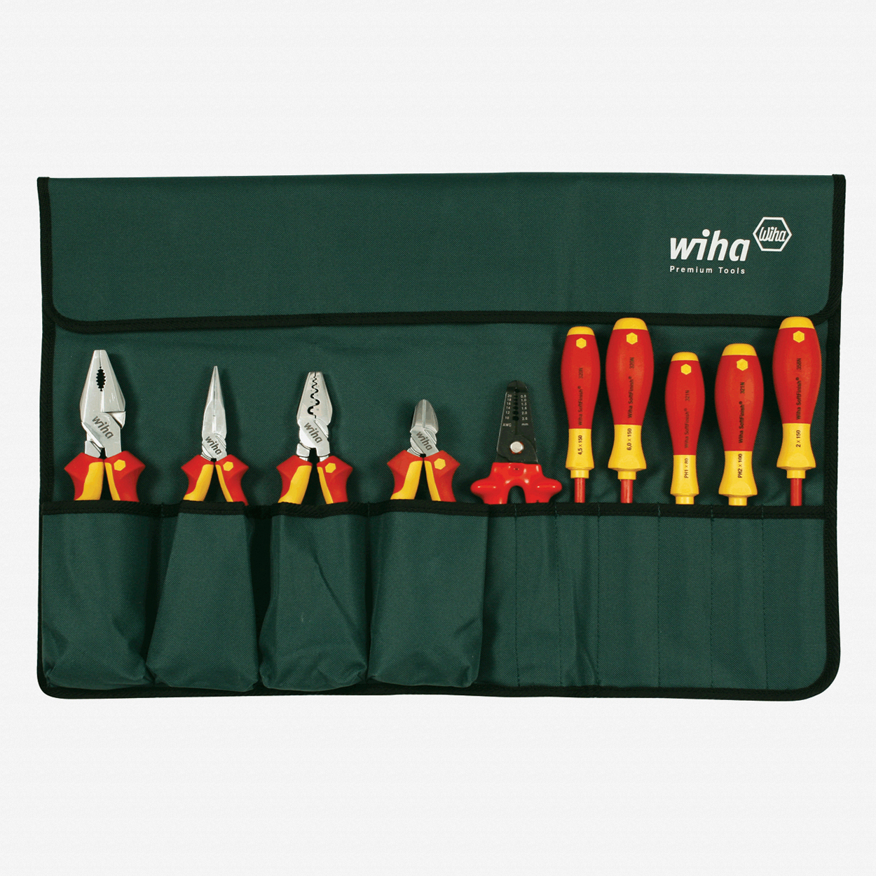 Wiha 32867 10 Piece Insulated Pliers/Cutters/Drivers Pouch Set - KC Tool