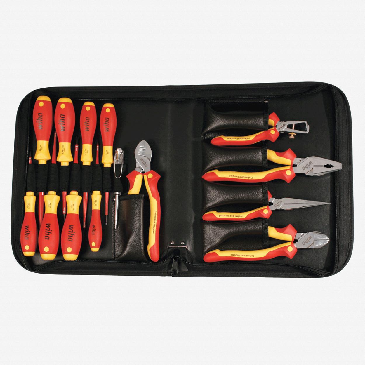 Wiha 32869 14 Piece SlimLine Insulated Pliers/Driver Zipper Case Set - KC Tool