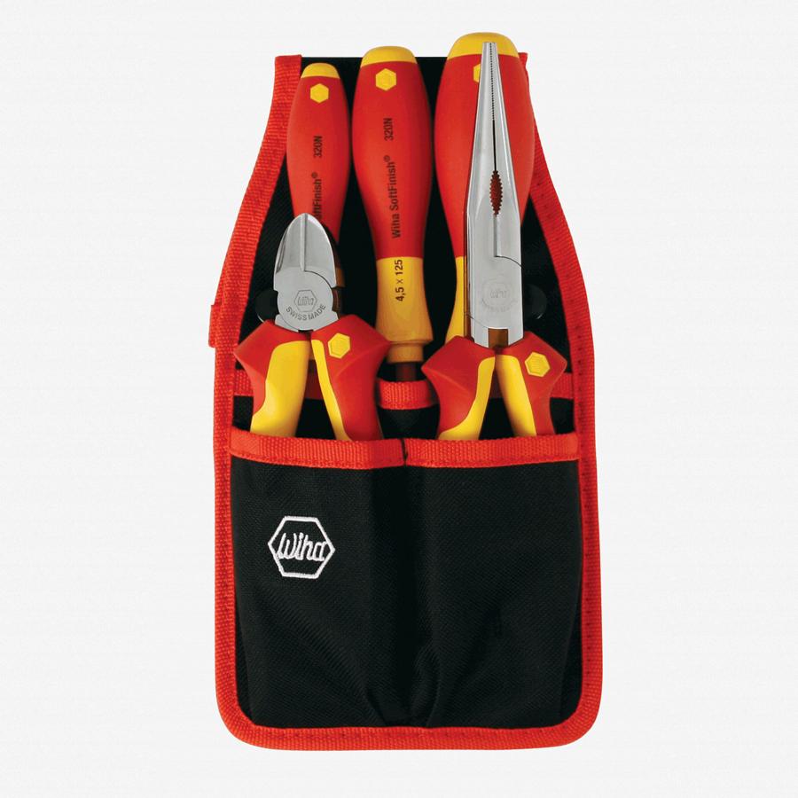 Wiha 32872 5 Piece Insulated Pliers/Cutters/Driver Belt Set - KC Tool
