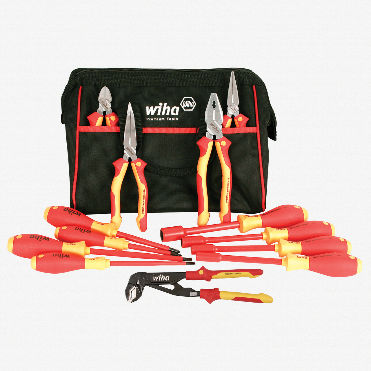 Wiha 32894 13 Piece Insulated Pliers/Cutters/Driver/Nut Driver Tool Box - KC Tool