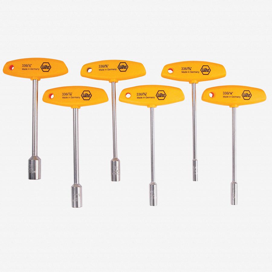 Wiha 33690 6 Piece SAE T-handle Nut Driver Set - KC Tool