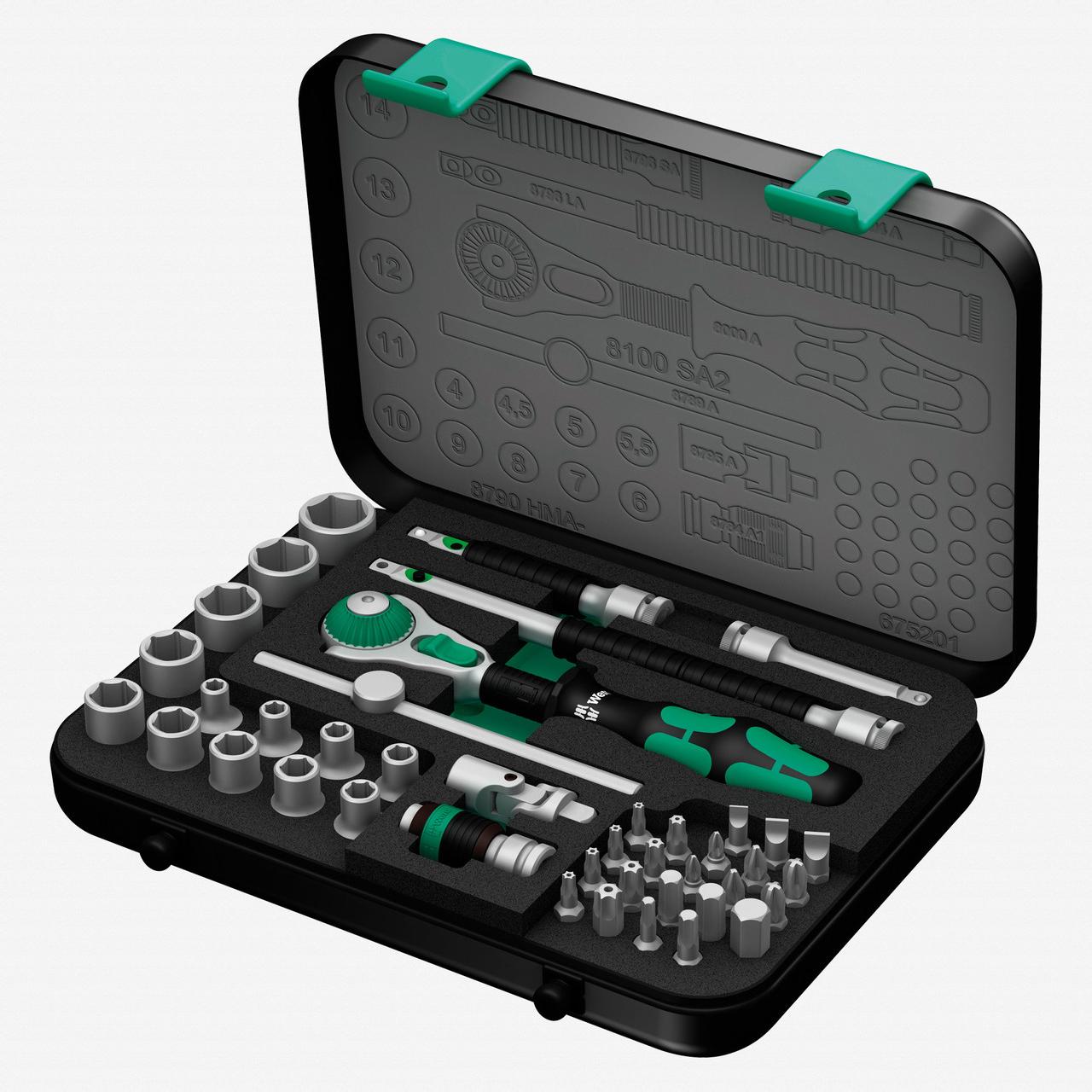 "Wera 003533 Zyklop Ratchet Premium 1/4"" Drive Metric Set - KC Tool"