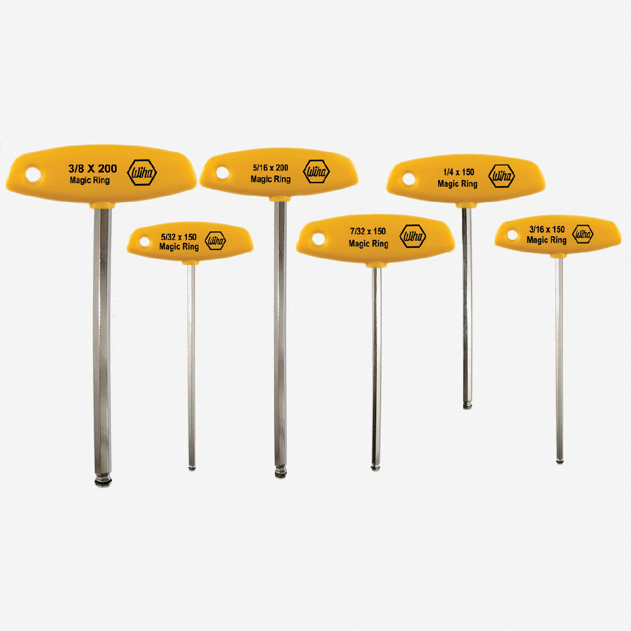 Wiha 54091 6 Piece MagicRing Ball End Hex SAE T-handle Set - KC Tool