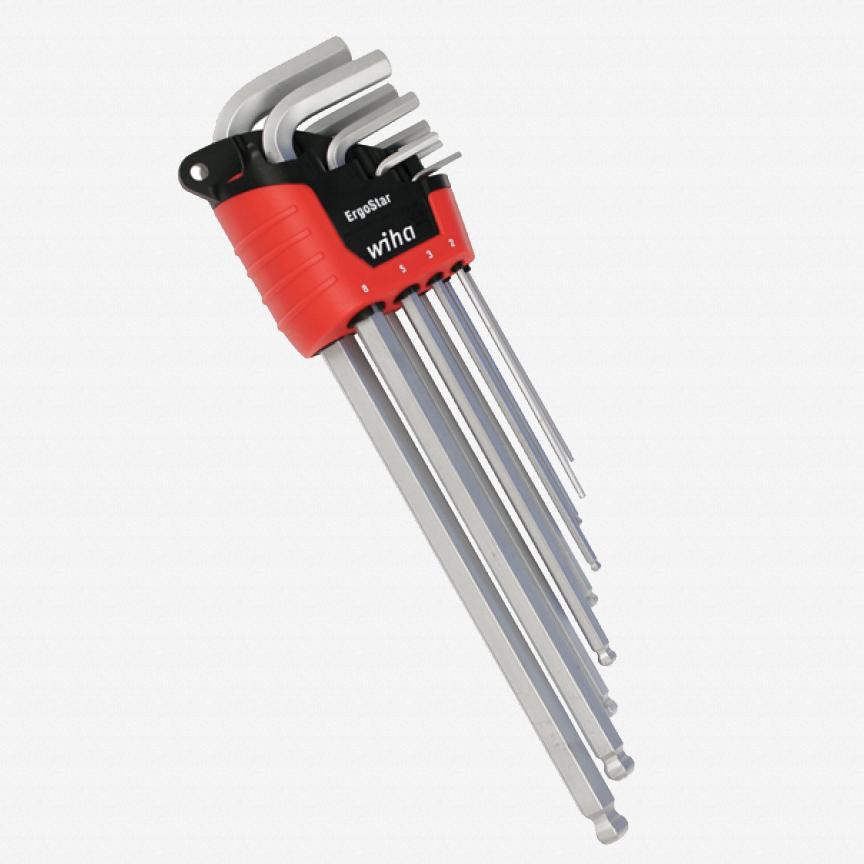 Wiha 66996 9 Piece ErgoStar Auto Open Metric Ball End Hex L-Key Set - KC Tool