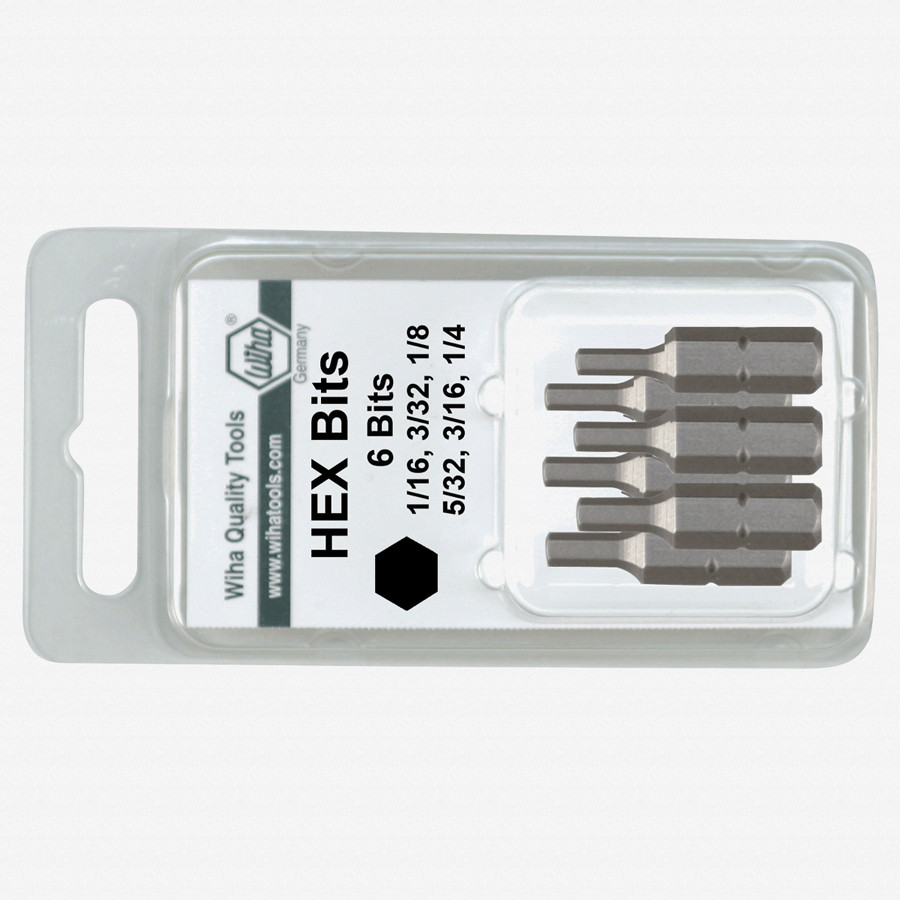 Wiha 71396 6 Piece Hex SAE Insert Bit Set - KC Tool