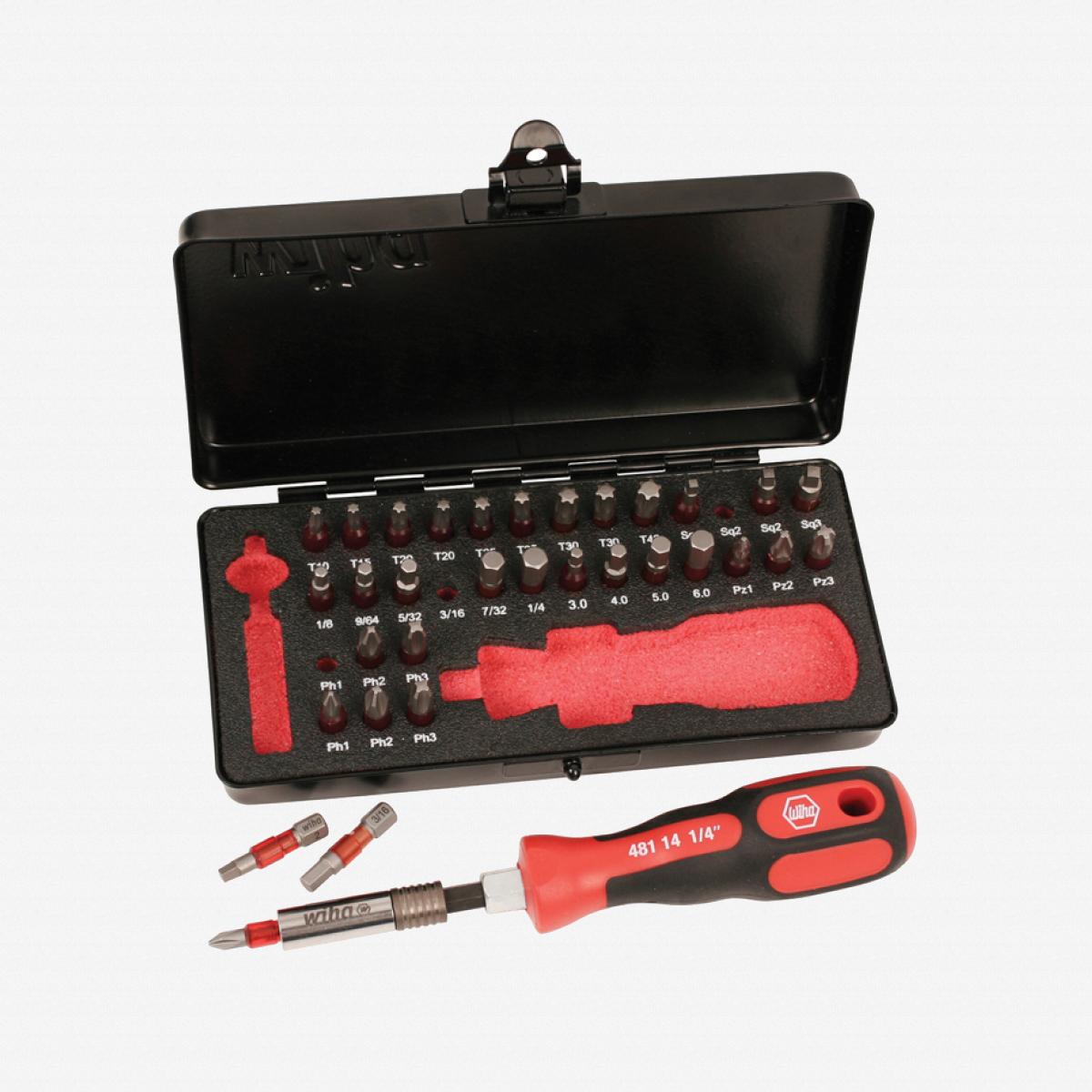 Wiha 76899 Terminator 34 Piece Impact Insert Bit Set In Metal Storage Box - KC Tool