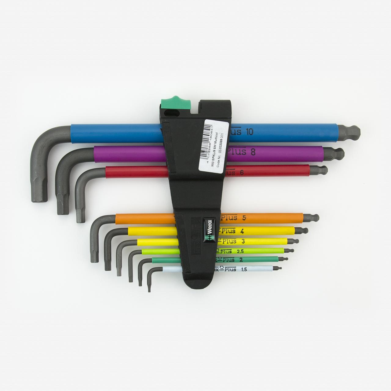 Wera 022089 Multicolor Hex + Ball End Hex Metric L-key Clip Set - KC Tool