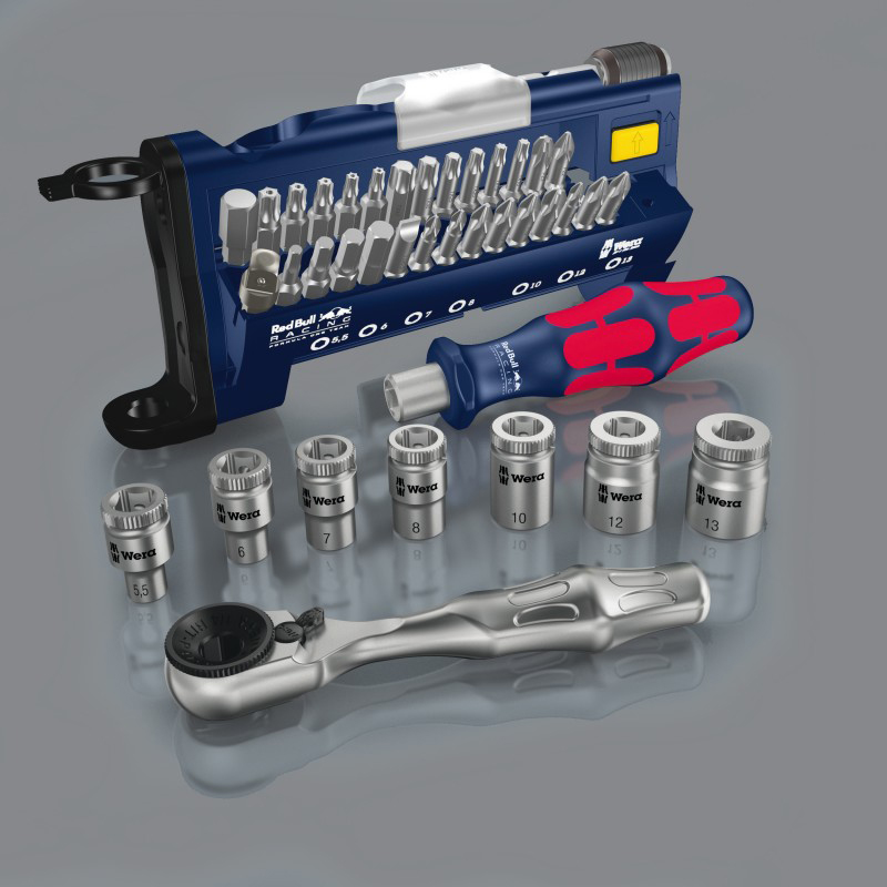 Wera 227704 Red Bull Racing Tool-Check Plus Bit Ratchet Set with Sockets - Metric - KC Tool