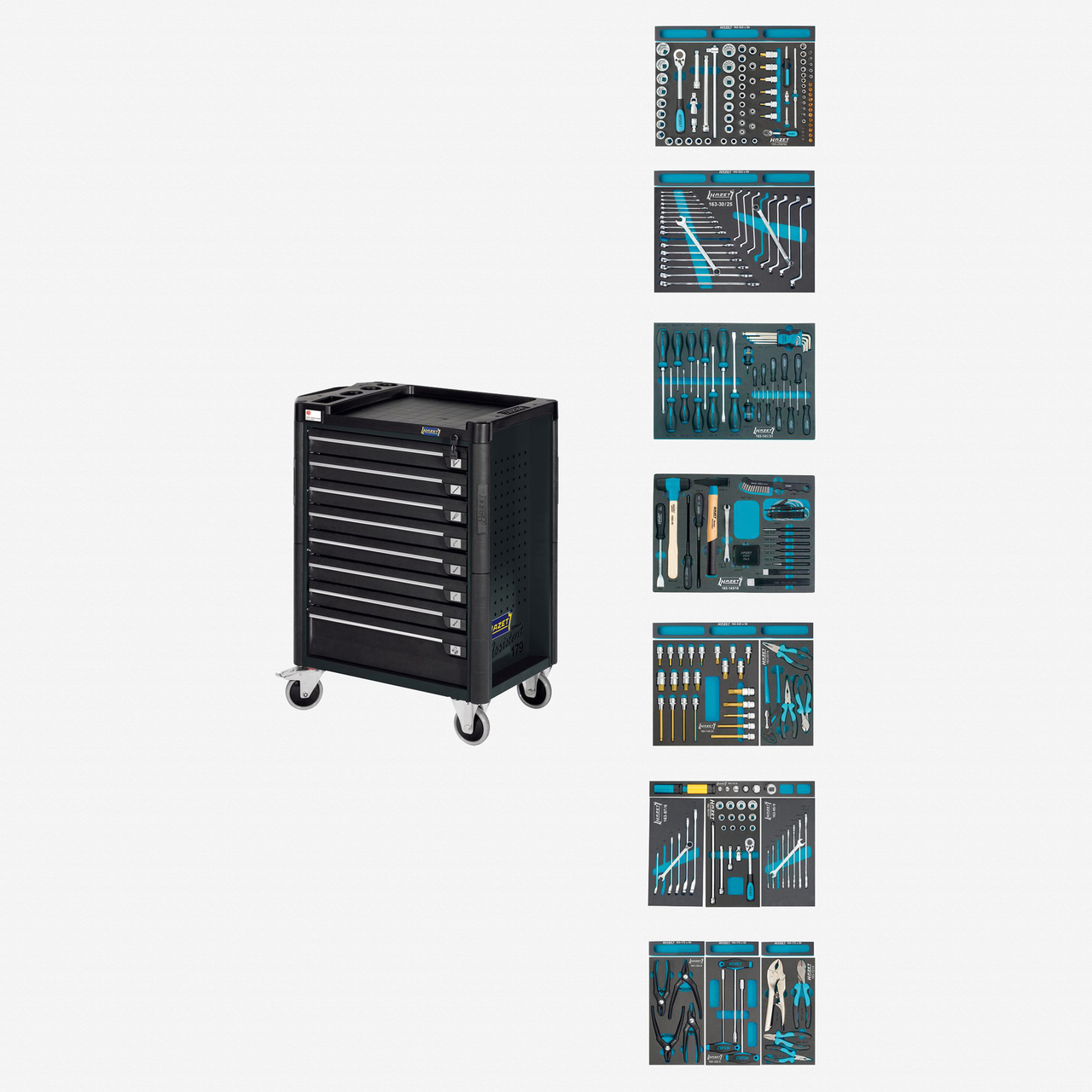Hazet 179-8-RAL7021/300 Tool trolley Assistent with VW and Audi assortment  - KC Tool