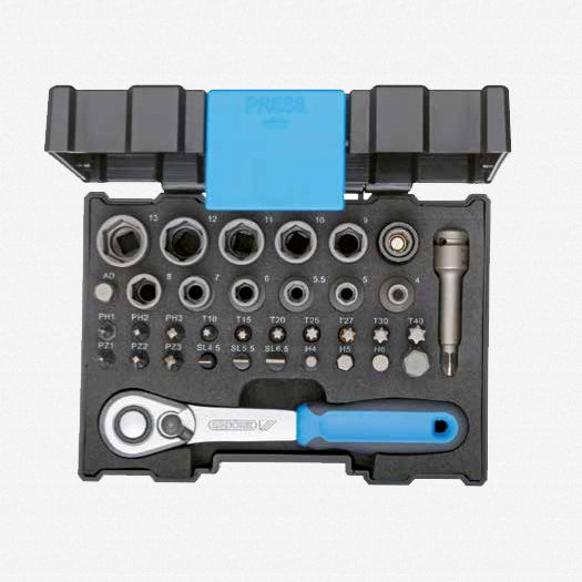 "Gedore 666-U-20 1/4"" Socket and Bit Set - 35 pcs - KC Tool"