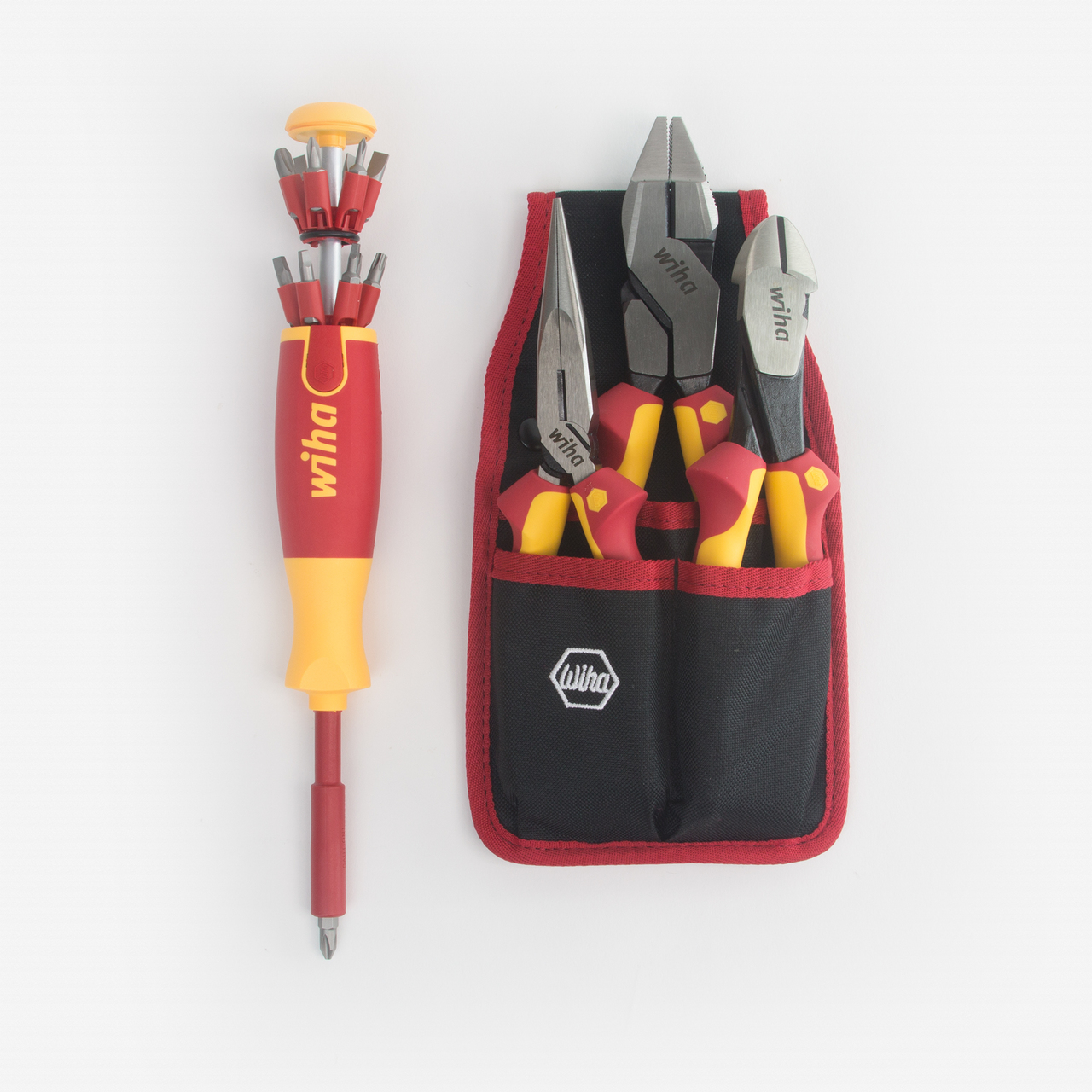 Wiha 32990 Insulated Pliers Cutters and Pop-Up Bit Holder Screwdriver Set - KC Tool