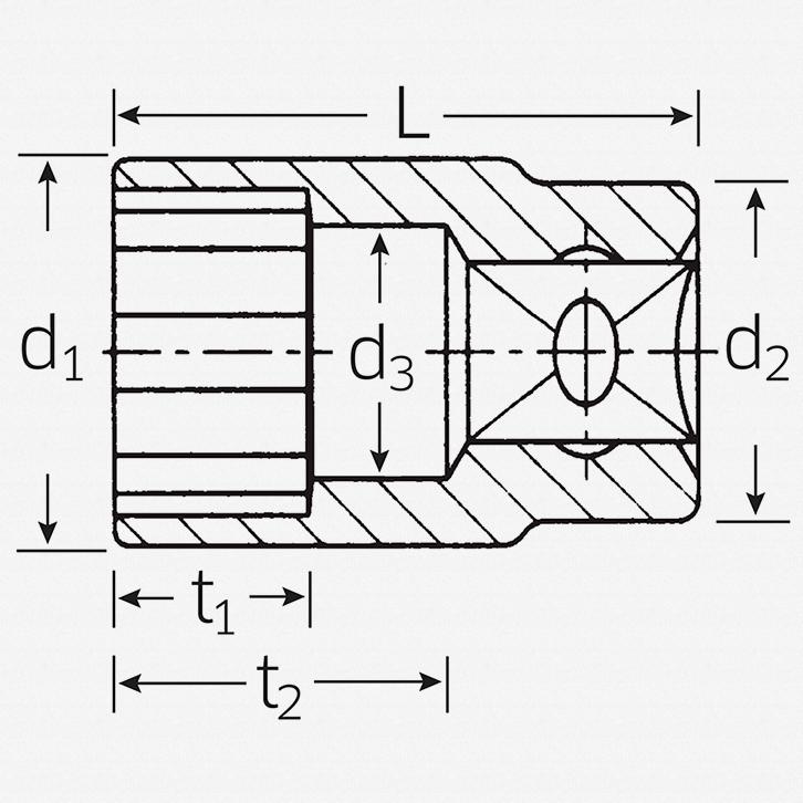"""Stahlwille 45a 3/8"""" 12-pt Socket, 5/8"""" - KC Tool"""