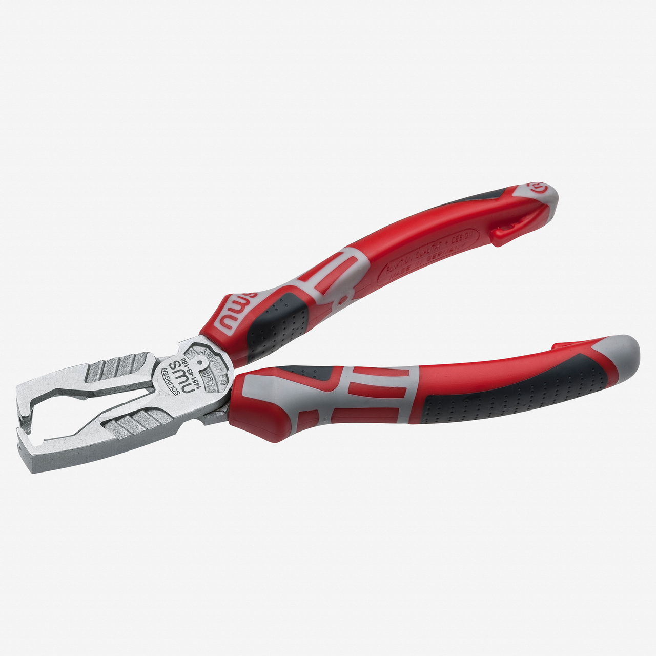 "NWS 1451-49-180 7"" Multifunctional Wire Stripping Pliers MultiCutter - Matte Chromium - SoftGripp - KC Tool"