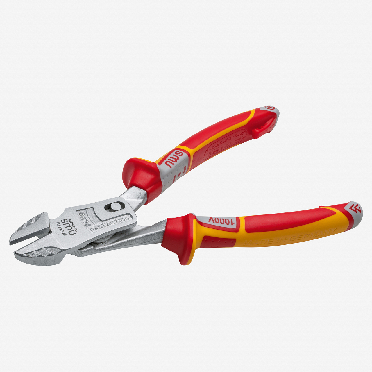"NWS 138-49-VDE-180 7"" Heavy Duty Lever Side Cutter FantasticoPlus VDE - Matte Chromium - SoftGripp - KC Tool"