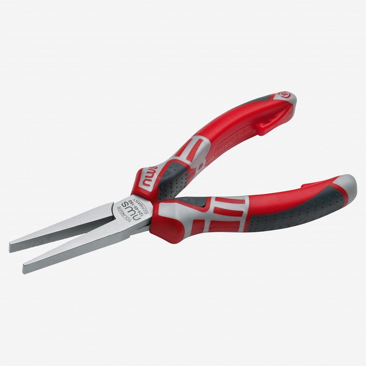 "NWS 124-49-160 6.25"" Long Flat Nose Pliers - Matte Chromium - SoftGripp - KC Tool"