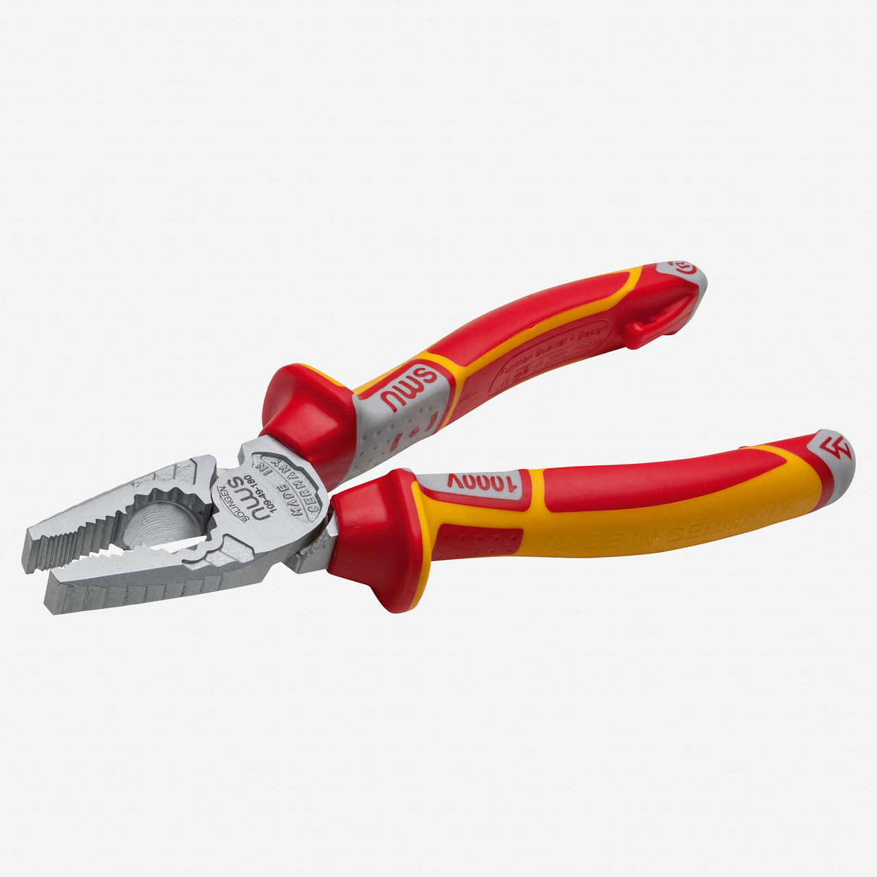 "NWS 109-49-VDE-205 8"" High Leverage Combination Pliers CombiMax VDE - Matte Chromium - SoftGripp - KC Tool"