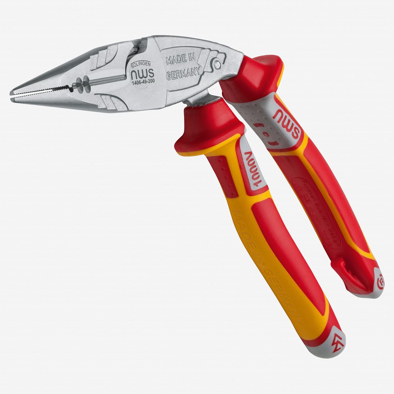 """NWS 1406-49-VDE-200 8"""" Ergonomical Electrician's Pliers ErgoMulti VDE - Matte Chromium - SoftGripp - KC Tool"""