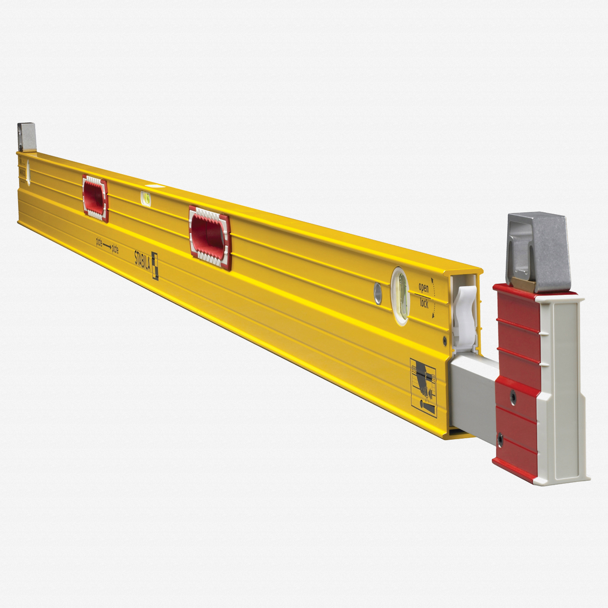 Stabila 35712 Type 106T Extendable Plate Level, 7' - 12' with Removable Stand-Offs - KC Tool