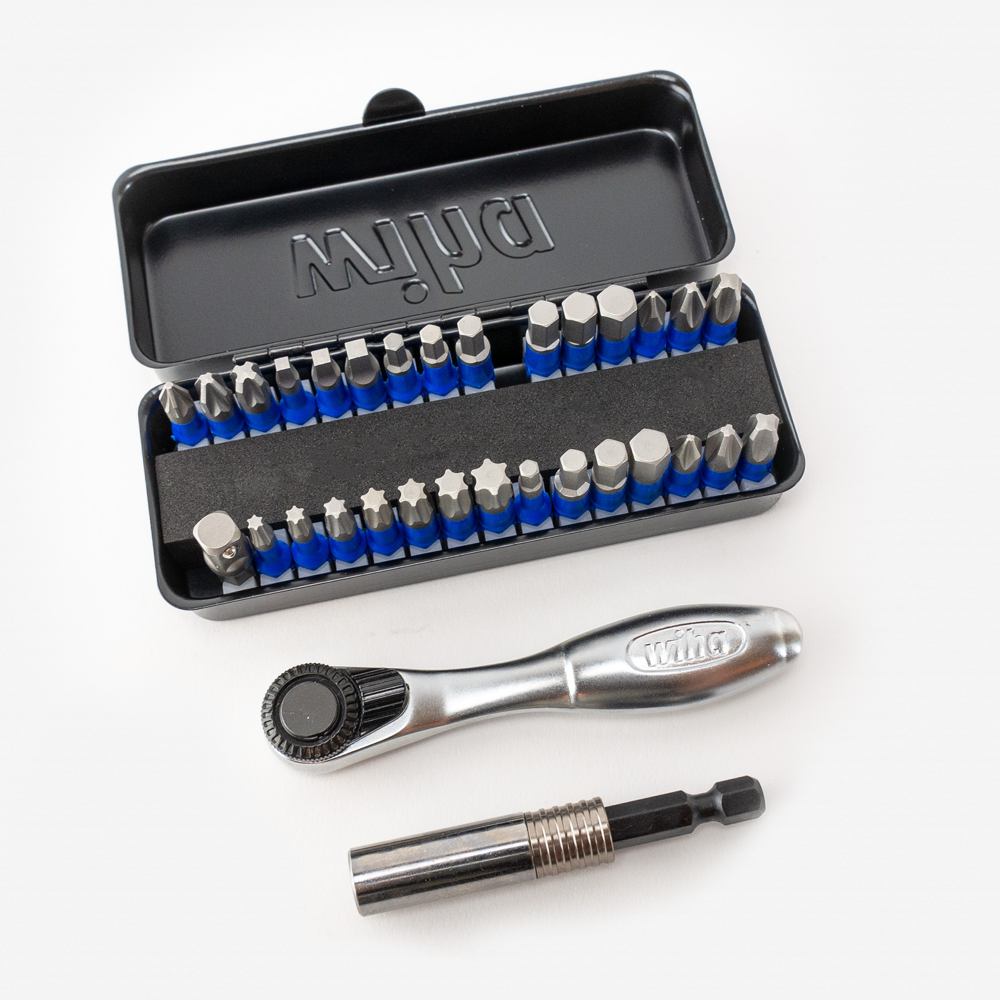 Wiha 76889 Impact Bit Set with Ratchet and Compact Storage Box, 32 Pieces - KC Tool