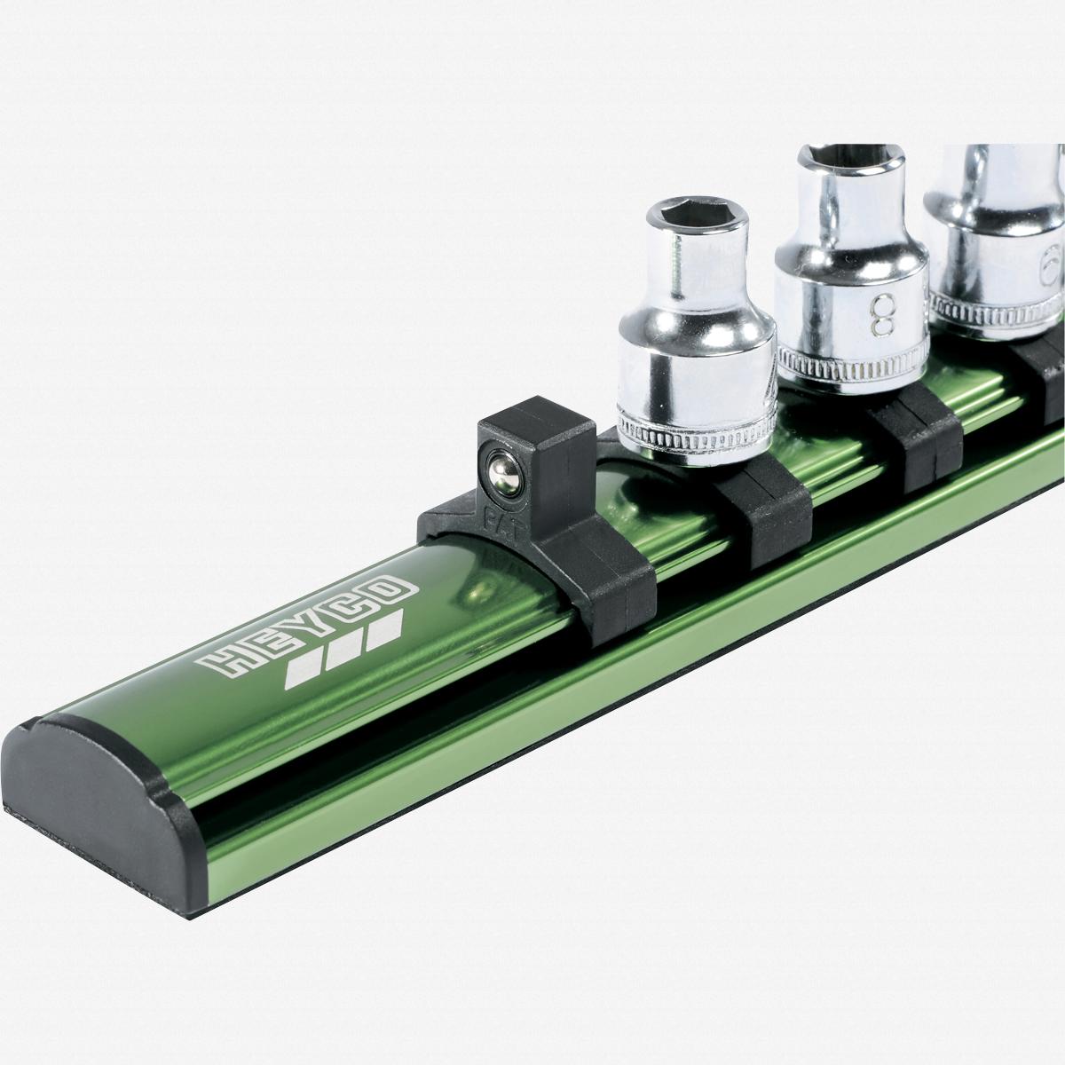 "Heyco 7104016 Magnetic Aluminum Socket Rail - Empty, 3/8"" Drive - KC Tool"
