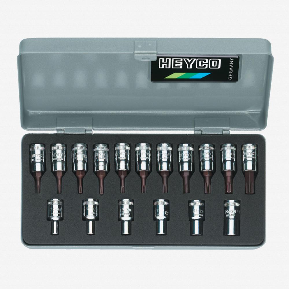 "Heyco 0255000 External Torx and Torx 1/4"" Drive Socket Set, 17 Pieces - KC Tool"