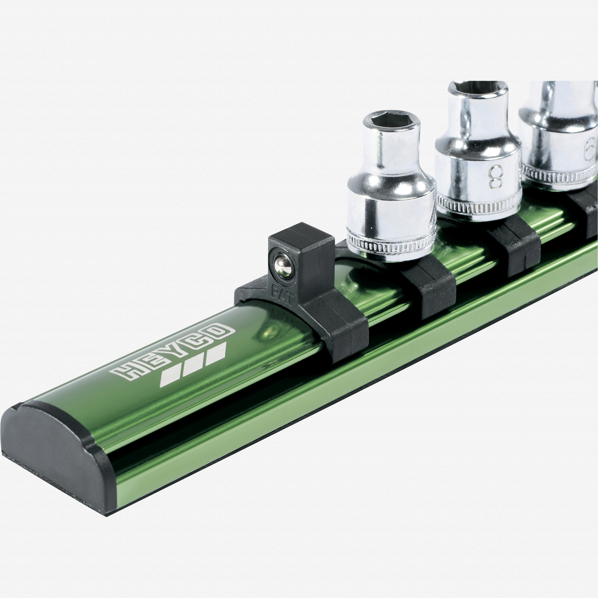 "Heyco 0407100 Metric Socket Set on Aluminum Rail - 3/8"" Drive, 16 Pieces - KC Tool"