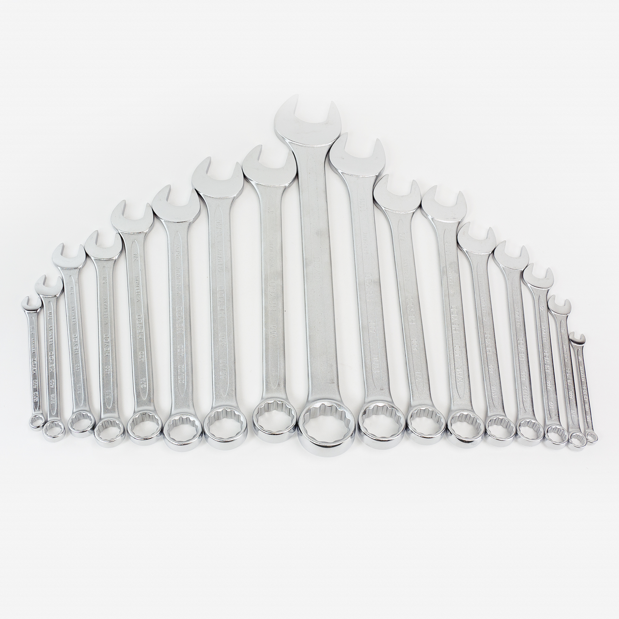 "Heyco 4009390 SAE 1/4 - 1 1/4"" Combination Wrench Set, 16 Pieces - KC Tool"
