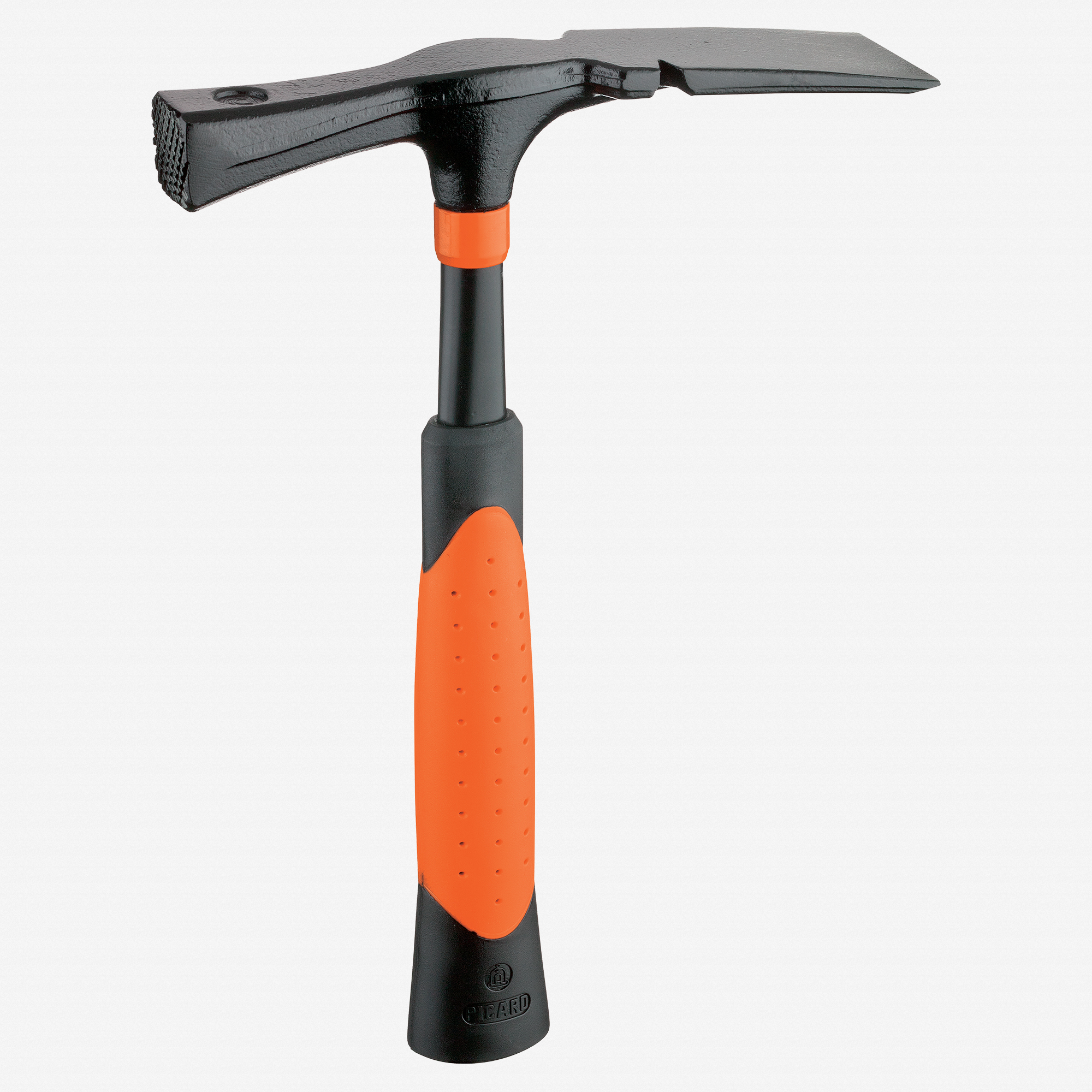 """Picard 21oz Mason / Bricklayer Hammer, wide chisel pattern """"Black Giant"""", with nail puller - KC Tool"""