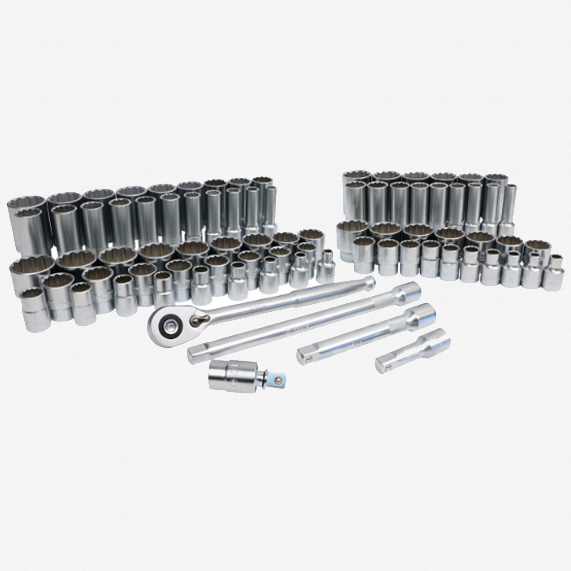 """Wiha 33899 Metric and SAE Socket Set, 12 Point 1/2"""" Drive with Ratchet & Extensions, 84 Pieces"""