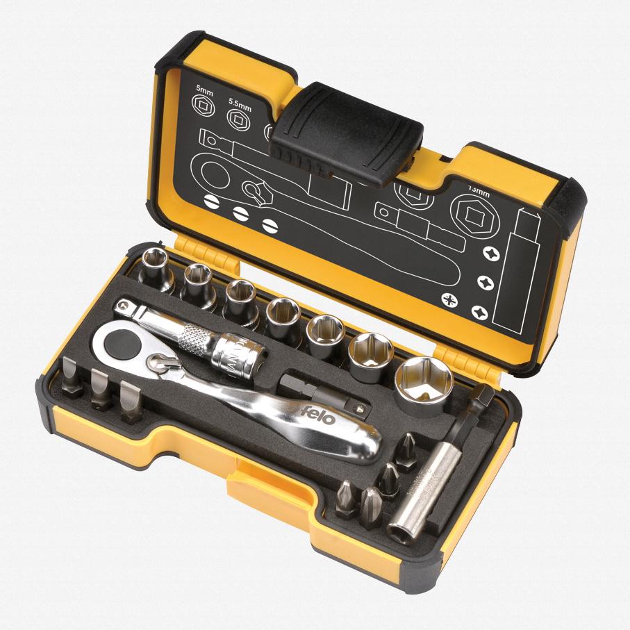 Felo 62059 XS 18pc Box Sockets, Bits, Mini Ratchet, Bitholder, INCH - KC Tool