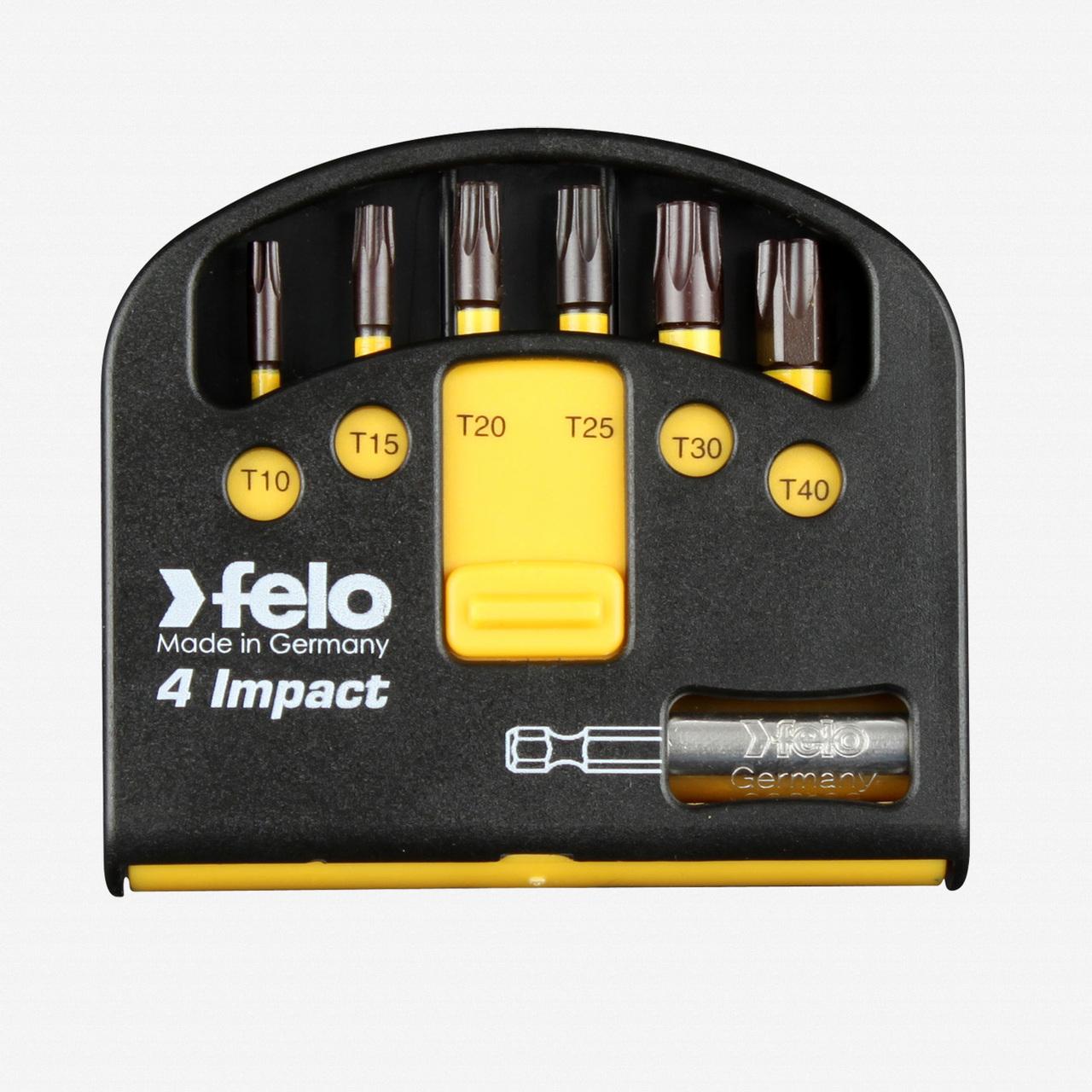 """Felo 63055 Torx Impact Bits (6) and Bitholder in Box - T10 / T15 / T20 / T25 / T30 / T40 x 1/4"""" - KC Tool"""