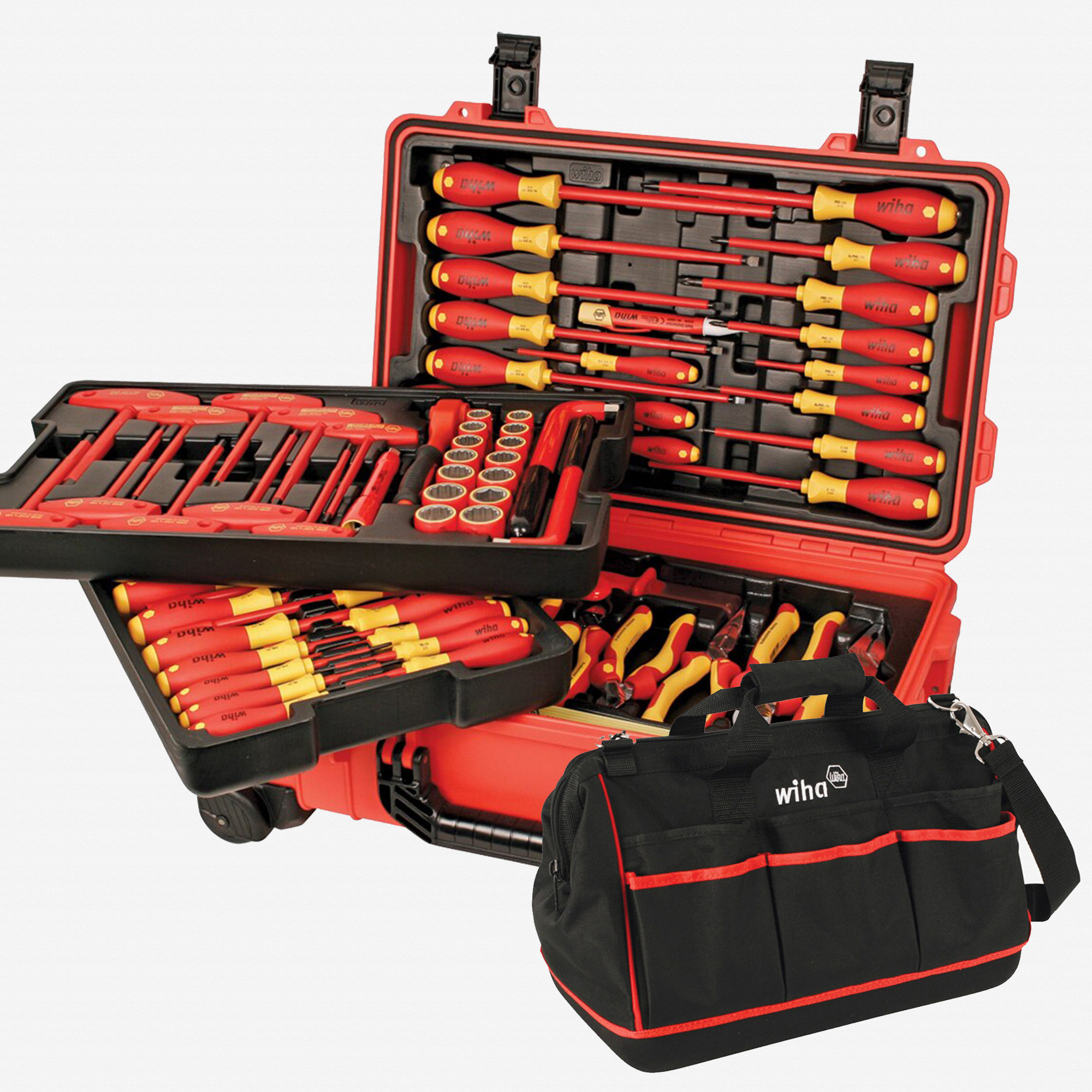 Wiha 32800 Master Insulated Rolling Tool Case Set, 80 Pieces