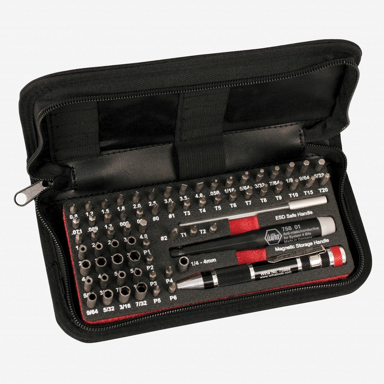 Wiha 75971 68 Piece MicroBit Master Tech Set In Zipper Case - KC Tool