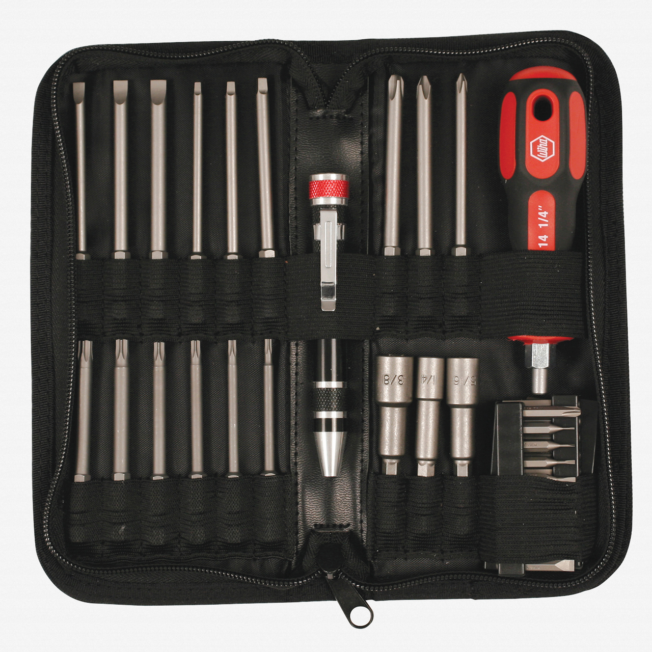 Wiha 76087 61 Piece Service Kit with Micro Bits, Power Blades, and Nut Setters - KC Tool