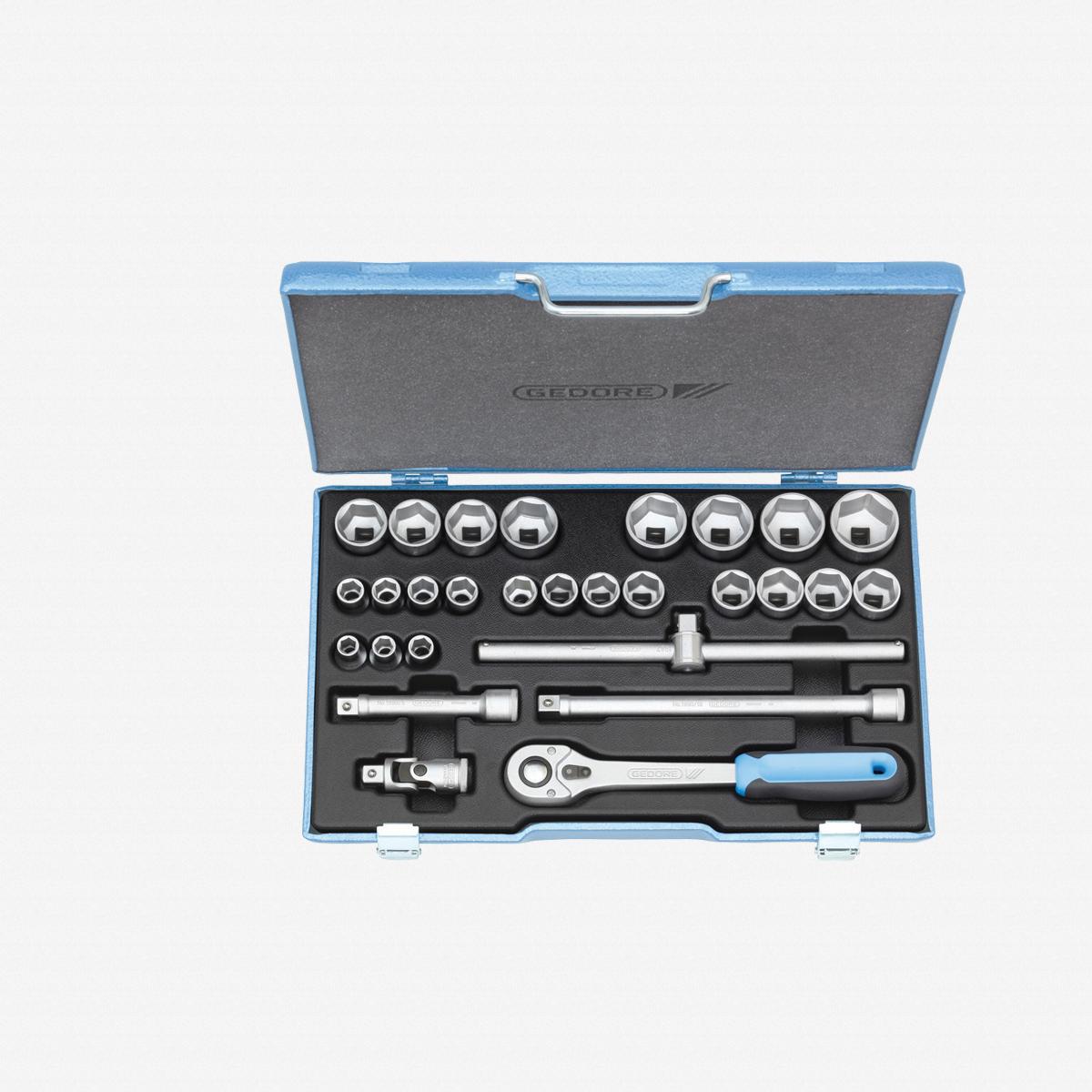 "Gedore 19 VMU-10 Socket set 1/2"" 28 pcs hex 10-36 mm - KC Tool"