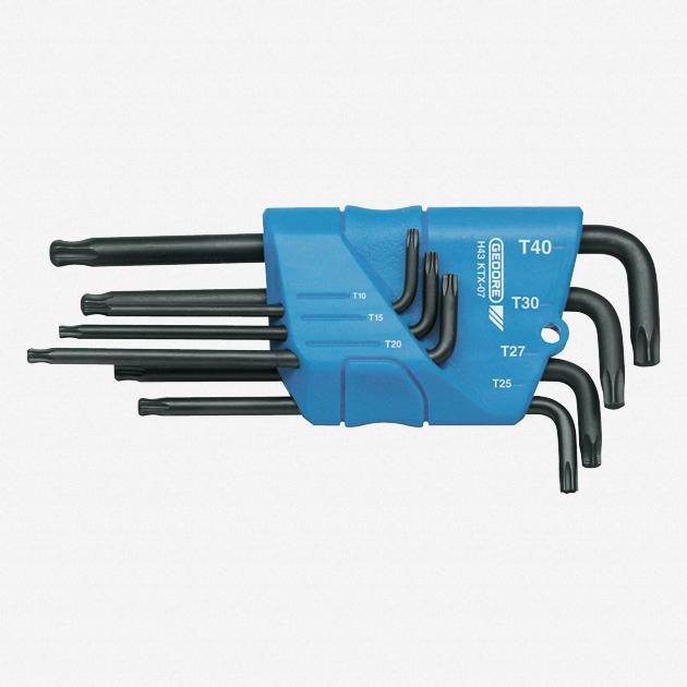Gedore H 43 KTX-07 Cranked socket key set 7 pcs TORX T10-T40 - KC Tool